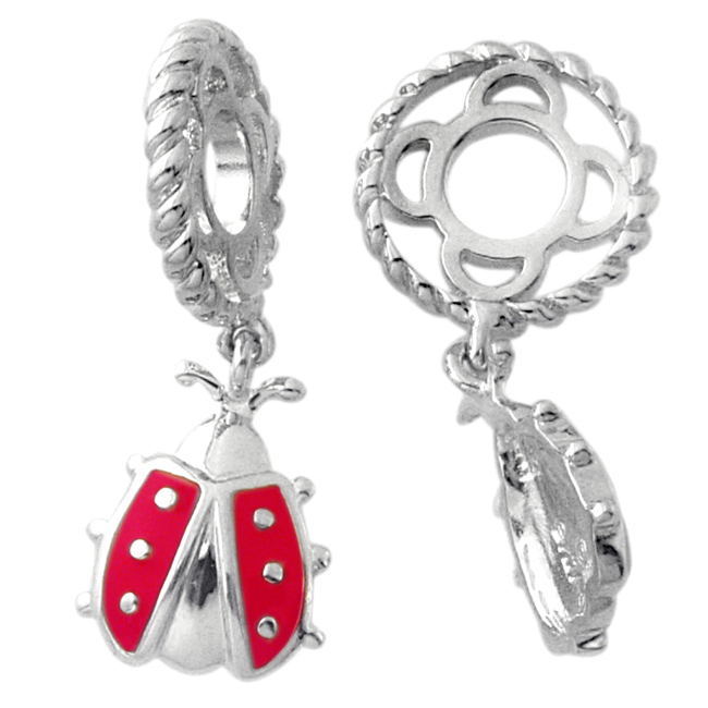 234444-Storywheels Red Enamel Ladybug Dangle Sterling Silver Wheel ONLY 1 AVAILABLE!