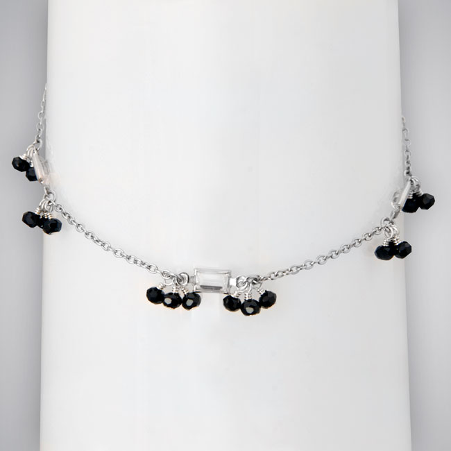 334865-Black Diamond CZ & Clear CZ Anklet