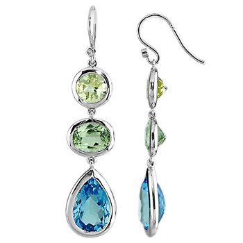 Swiss Blue Topaz, Mint Green & Limon Quartz Earrings-341589