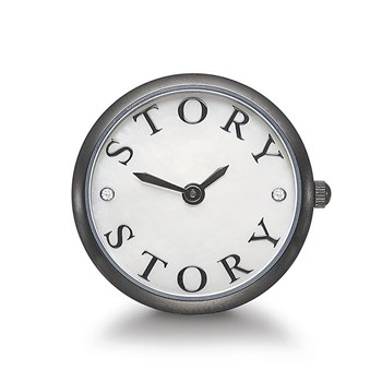 STORY by Kranz & Ziegler Black Rhodium Script Clock Button