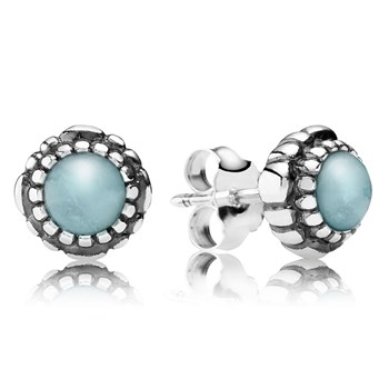 344321-PANDORA Aquamarine March Birthday Bloom Stud Earrings