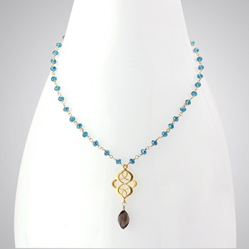 348548-Smokey Quartz Celtic Accent Necklace