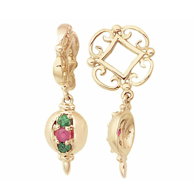 271141-Storywheels Emerald & Ruby Ornament Dangle 14K Gold Wheel ONLY 4 AVAILABLE!