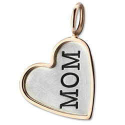 347337-Mom Heart Charm with Rose Gold Border