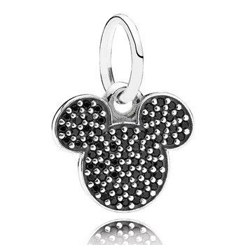 PANDORA Disney Sparkling Mickey Icon with Black CZ Pendant RETIRED 802-1699