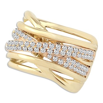 Yellow & Rose Gold Diamond Ring-348314