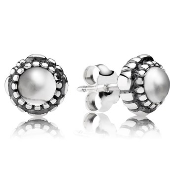 PANDORA Rock Crystal April Birthday Bloom Stud Earrings-344322