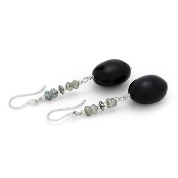 Labradorite & Onyx Earrings-210-772