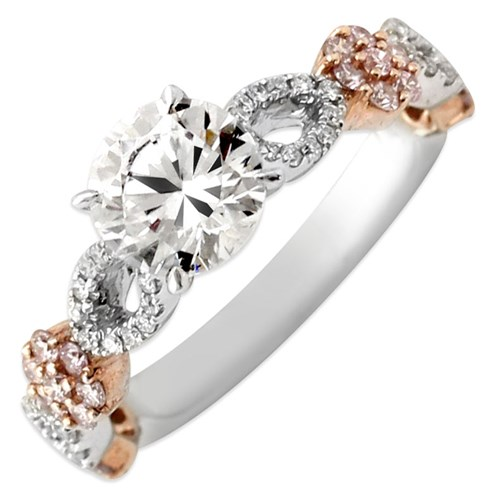 Hidalgo Diamond Ring with Rose Gold Flower Design