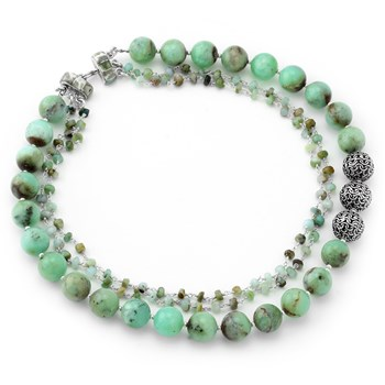 Green Chrysoprase & Opal Necklace 235-524