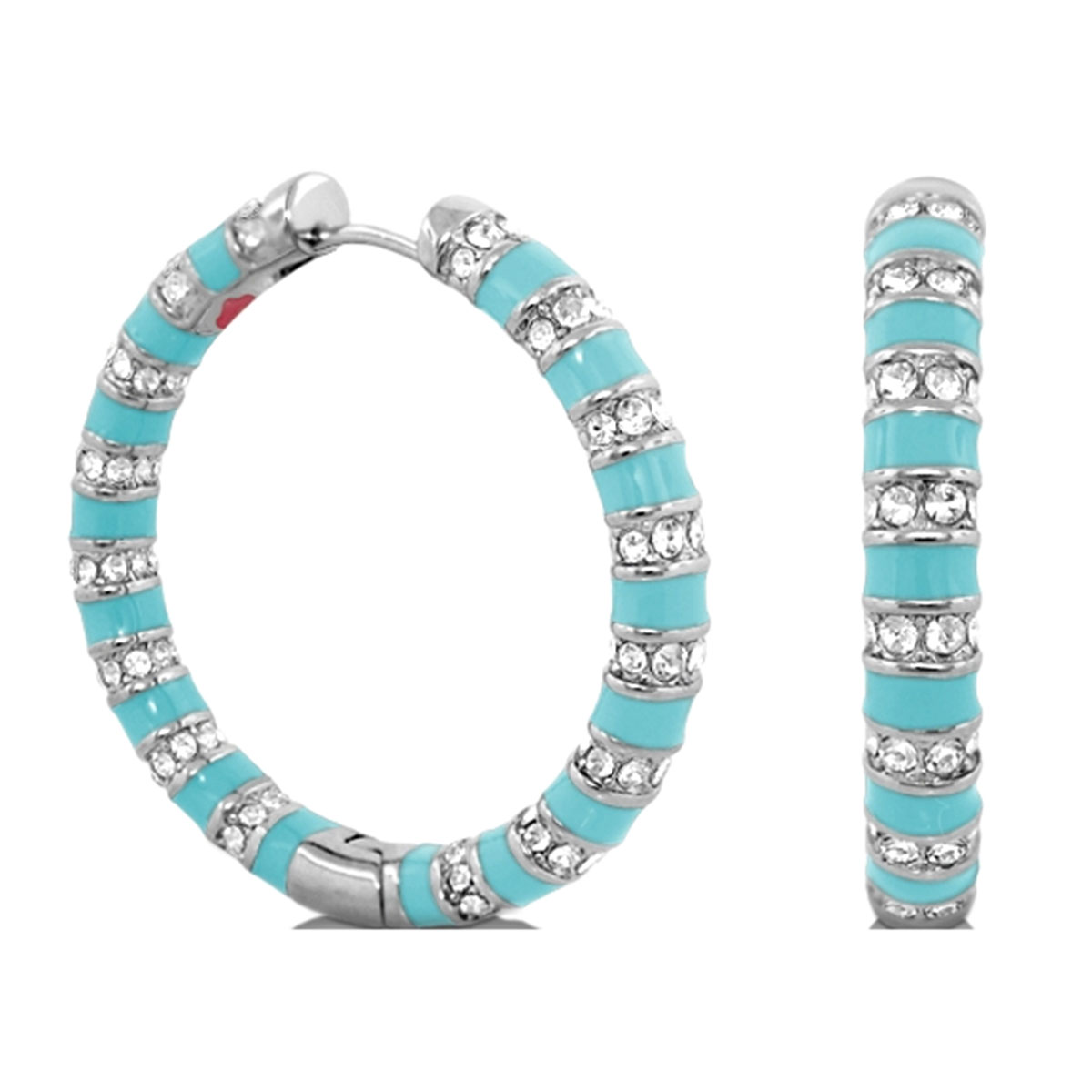 342394-Blue 'Stripe Tease' Hoop Earrings
