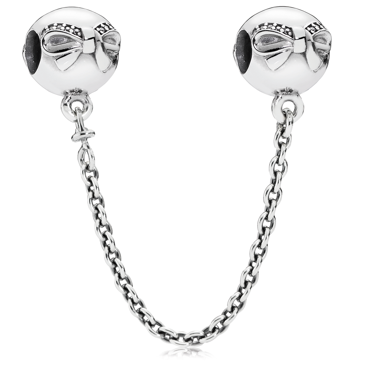 802-3142-PANDORA Dainty Bow with Clear CZ Safety Chain