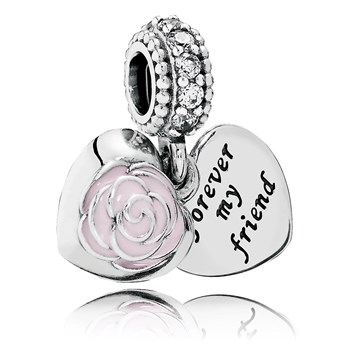 PANDORA Mother's Rose with Pink Enamel and Clear CZ Dangle 802-3028