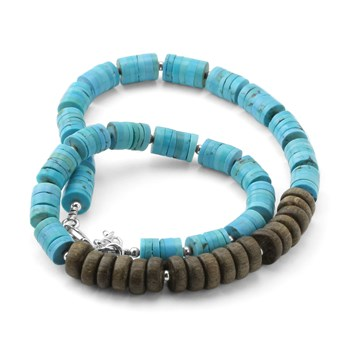 Turquoise & Wood Necklace-235-595