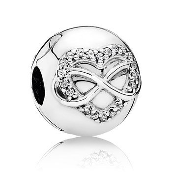 PANDORA Infinity Heart with Clear CZ Clip