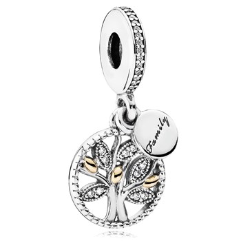 PANDORA Family Heritage with 14K and Clear CZ Dangle 802-3127