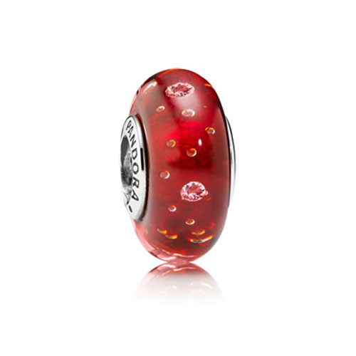 802-1746-PANDORA Red Effervescence with Clear CZ Murano Glass