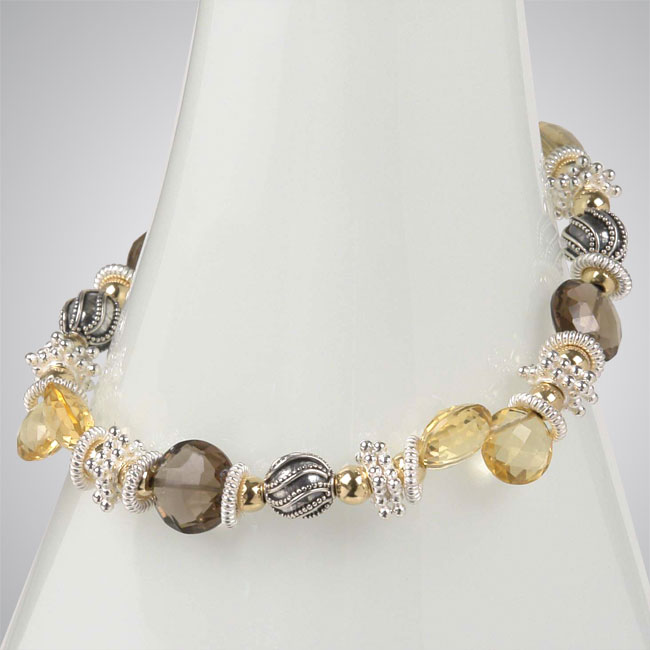 Smokey Topaz, Golden Citrine & Sterling Silver Bracelet-257060
