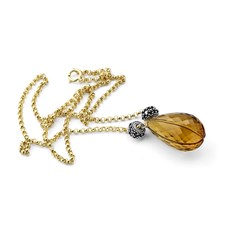 235-599-Fancy Whiskey Quartz Necklace