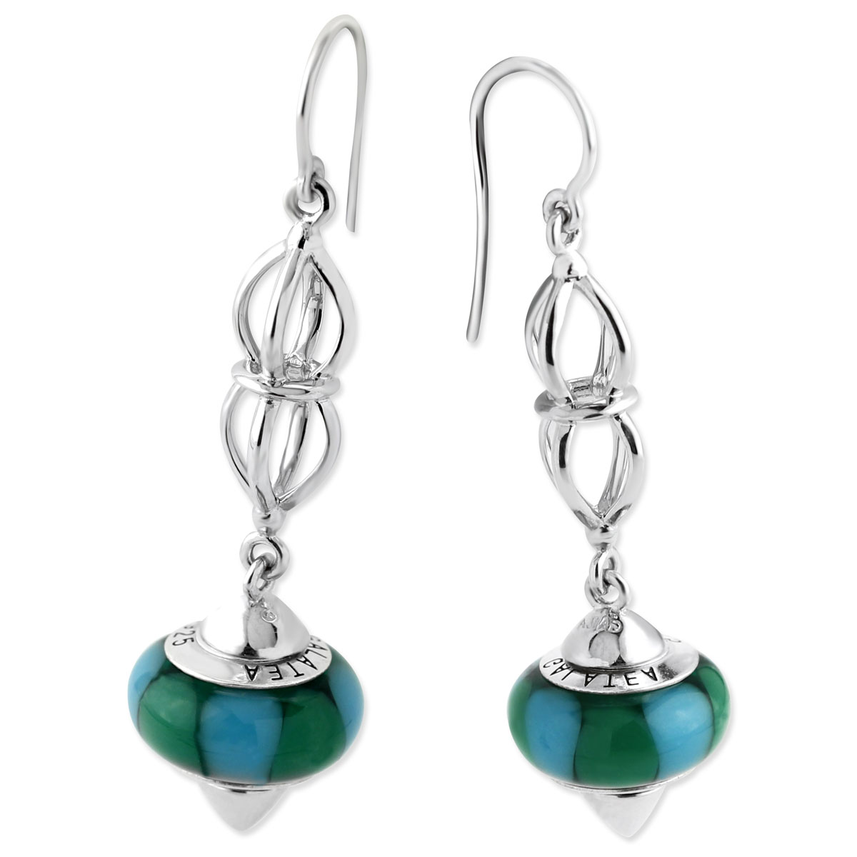 342108-Galatea Interchangeable Earrings with Green & Blue Beads