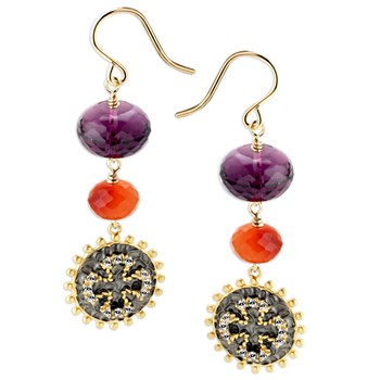 347658-Amethyst & Carnelian Maltese Cross Earrings