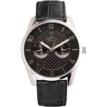 Men's Black Leather Watch-505-3