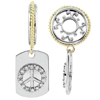 331654-Storywheels Diamond Peace Sign Dog Tag Sterling Silver/14K Gold Wheel ONLY 5 AVAILABLE!
