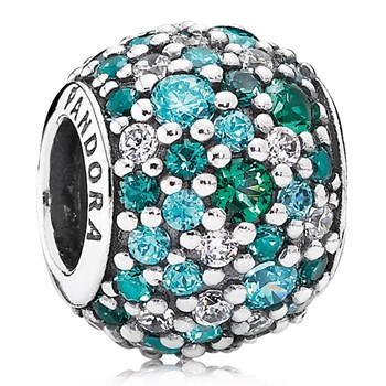 PANDORA Ocean Mosaic Pavé with Mixed Green CZ and Green Crystal Charm-802-3003