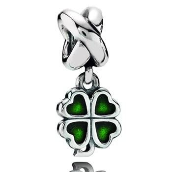337200-PANDORA Four Leaf Clover with Green Enamel Dangle
