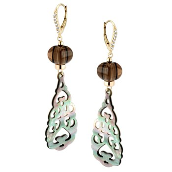 343744-Mother of Pearl and Smokey Quartz Earrings