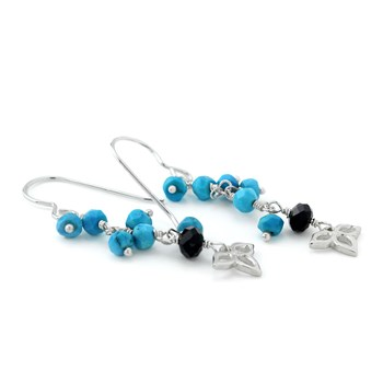 210-686-Turquoise & Onyx Earrings