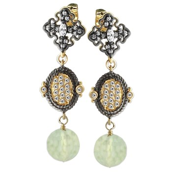 10198A-Green Tourmaline and White Topaz Earrings