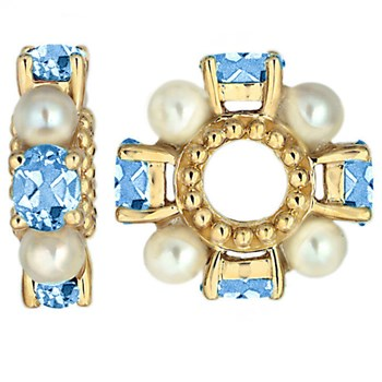 Storywheels Swiss Blue Topaz & Pearl 14K Gold Wheel-262767