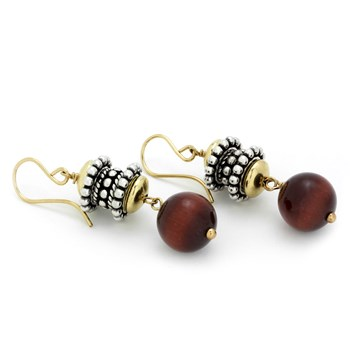 Tri-Color Tiger Eye Earrings-210-774