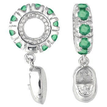265140-Storywheels Emerald & Diamond Baby Shoe Dangle 14K White Gold Wheel ONLY 2 AVAILABLE!
