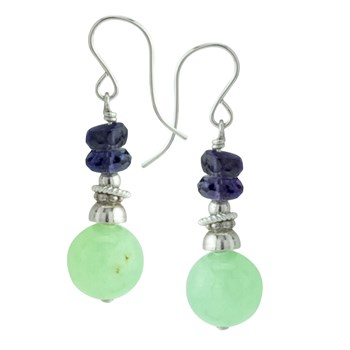 Prehnite & Iolite Earrings 210-848