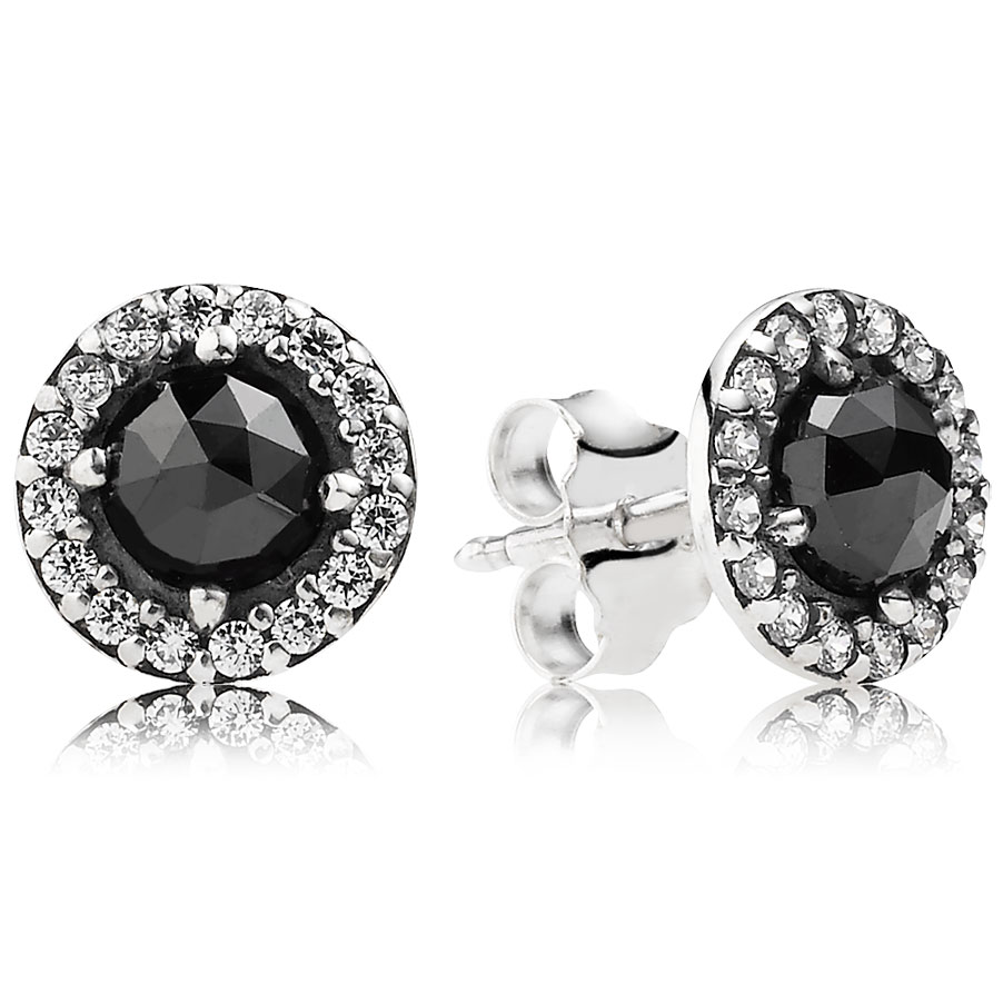 PANDORA Glamorous Legacy with Black Spinel and Clear CZ Earrings 344334