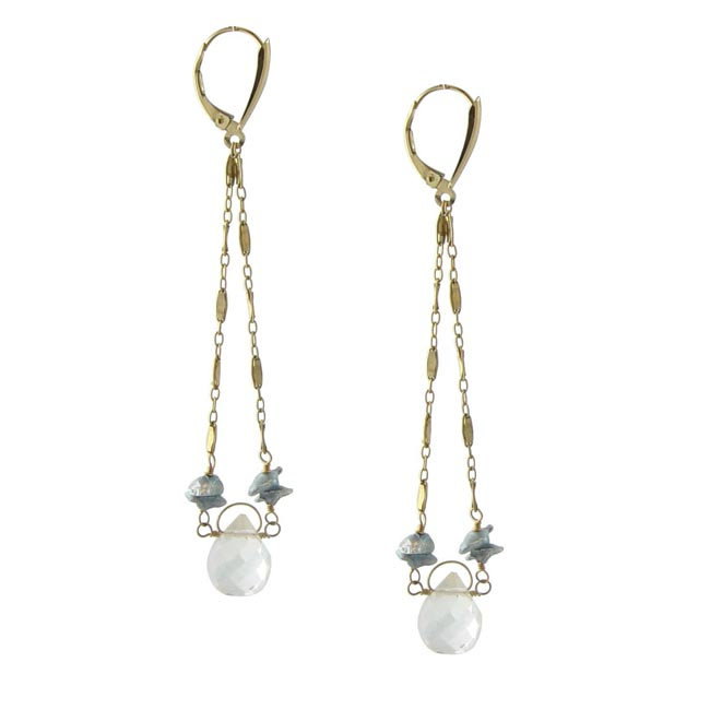 221054-White Topaz and Keishi Pearl Earrings