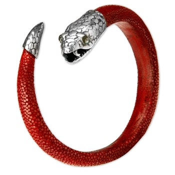 337034-Red Stingray Leather Snake Unisex Bracelet