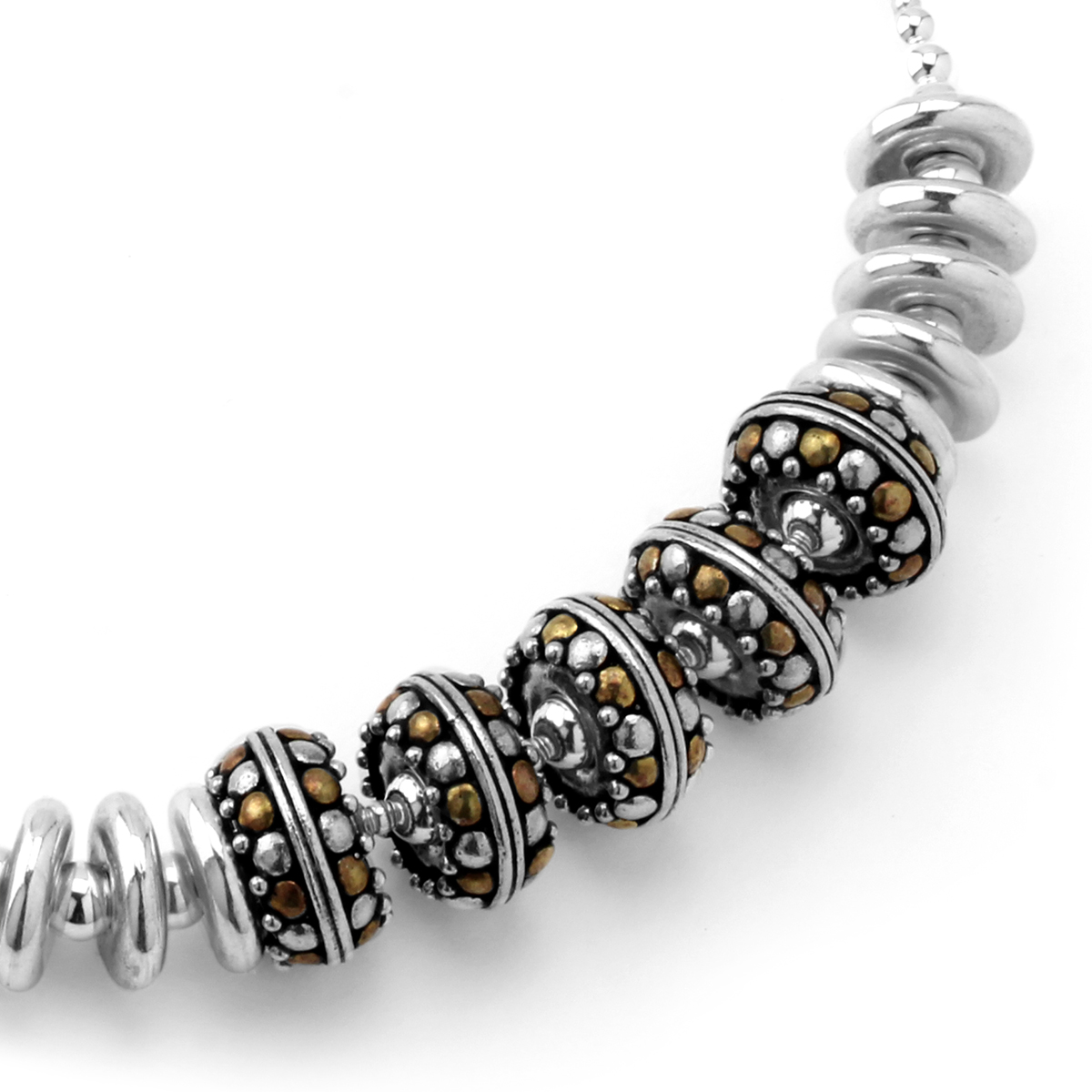 Silver & Brass Beaded Necklace-235-521