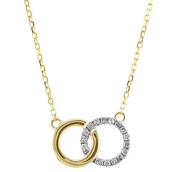 Diamond Intertwining Circles Necklace-341573