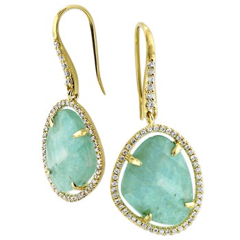 Amazonite & Diamond Earrings-342307