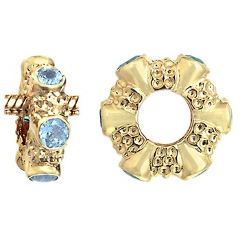 284479-Storywheels Sky Blue Topaz Cabochon 14K Gold Wheel RETIRED LIMITED QUANTITIES!
