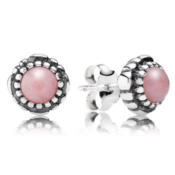 PANDORA Pink Opal October Birthday Bloom Stud Earrings-344330