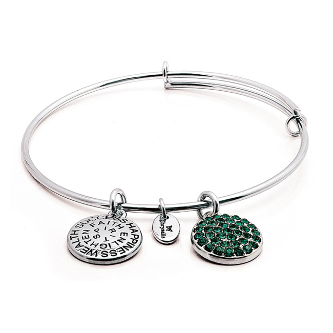MAY Emerald Crystal Bangle - Chrysalis Good Fortune Collection