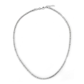 343289-Rhodium Round Wire Necklace ONLY 5 LEFT!