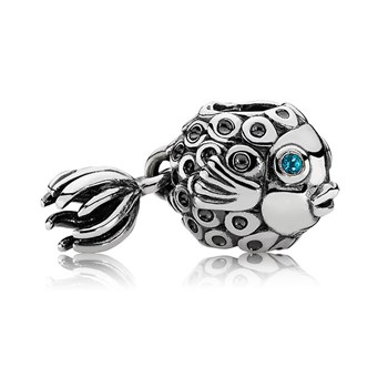 343430-PANDORA Splish-Splash Fish with Blue Topaz Dangle
