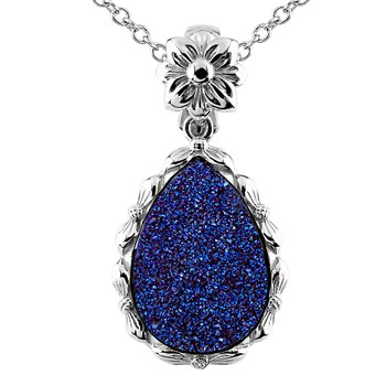 Cobalt Teardrop Drusy Necklace-341996