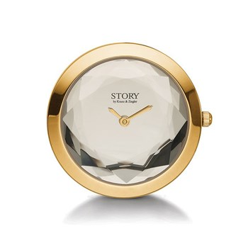 STORY by Kranz & Ziegler Gold-Plated Crystal Clock Button PRE-ORDER