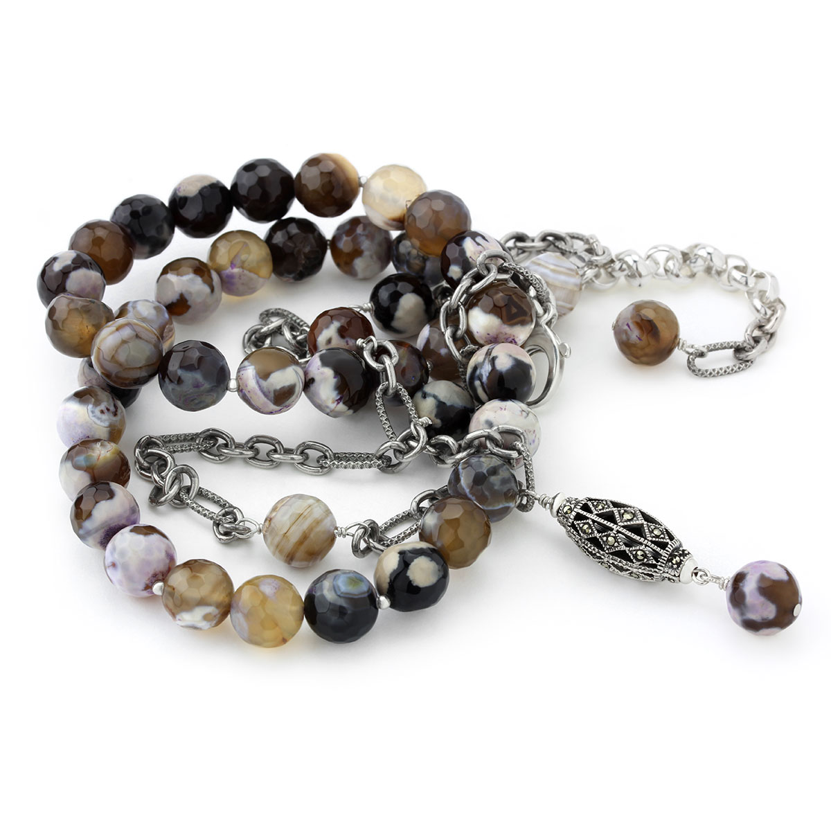 235-628-Agate & Marcasite Necklace
